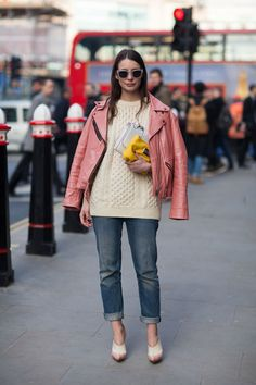 This showgoer matches her shoes to her jacket and sweater to fun results.   - HarpersBAZAAR.com