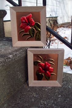 Vintage Tooled Copper Floral wall hanging set of 2, Wanda Irwin Philip Irwin Company, red Hibiscus pictures framed art, 1950's, gift for her by UpcycledCottageDecor on Etsy