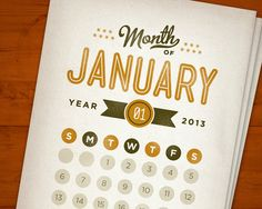 Go Getter Printable Calendar Set INSTANT DOWNLOAD Modern Retro Typography PDF 2013 and 2014 on Etsy, $6.50