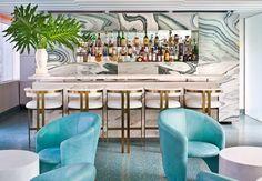 Unique and Stylish Boutique Hotel Interior Design of Avalon Hotel Beverly Hills, California Oliverio Bar