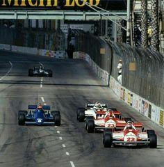 1981. Bruno Giacomelli & Mario Andretti (Alfa Romeo), Eddie Cheever (Tyrrel-Ford) & Nelson Piquet (Brabham-Ford). Long Beach, F-1 West USA GP.