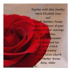 ShoppingFull Bloom Red Rose Wedding Custom AnnouncementIn our offer link above you will see