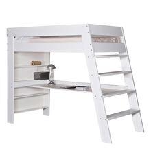 julien kids loft bed & desk in brushed white pine Loft Beds For Small Rooms, Cool Loft Beds, Cool Beds For Kids, Loft Bunk Beds, Cool Kids Rooms, Kids Bunk Beds, Loft Bed Desk, High Sleeper Bed, Loft Bed Plans