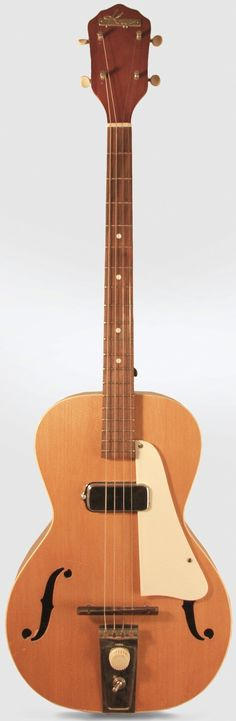 "1957 Kay electric Baritone Ukulele (23"" scale and looks like a Tenor Guitar but the advert for it says its a Baritone Uke) --- https://www.pinterest.com/lardyfatboy/"