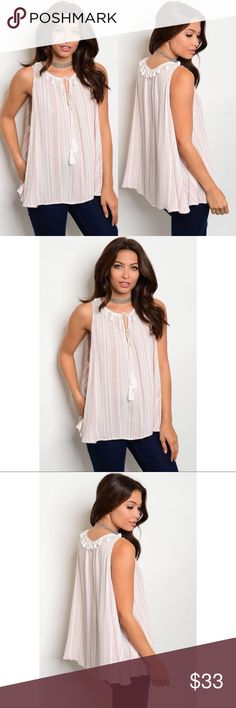 Off White & Mauve Striped Pattern Top Tunic PreOrder❣️Off White & Mauve Striped Pattern Top Tunic with Tassel Tie in the front and Tassel lined Neck. Lightweight and flowy perfect for summer! 100% rayon. No Trades. Price is Firm Unless Bundled. GlamVault Tops Tunics