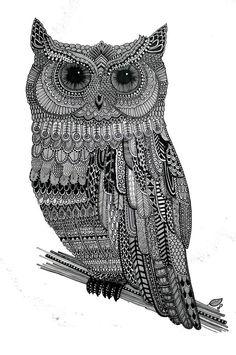 'Owl' by Lucia Paul This style of art is called Zentangle. Owl Illustration, Owl Art, Zentangle Patterns, Zentangles, Grafik Design, Doodle Art, Owl Doodle, Henna Designs, Pattern Art