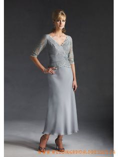 Chiffon Lace Tea Length Mother of the Bride Dresses 2011