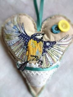 MADE TO ORDER Bluetit embroidered appliqué by LilCritterDesigns
