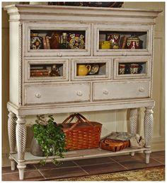 Amazon.com: Wilshire Sideboard Cabinet w Antique White Finish: Furniture & Decor