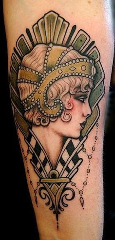 7a4611625 Art Deco Tattoo | stunning Jeff Gogue Art Deco tattoo of a pin up girl with