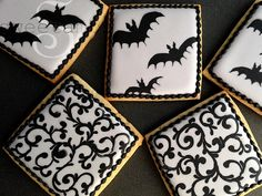 If you saw my tutorial on how to make creepy cameo cookies, year ou might have noticed that I'm on a glammed-up Halloween kick. I kept these bat cookies pretty simple by just using black and gray, but if you're going to make them, I would definitely rec