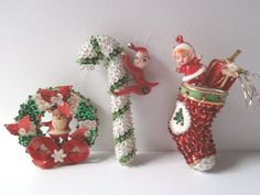 Vintage Sequin Candy Cane Ornament Sequin Wreath by OldIvyStreet, $38.00
