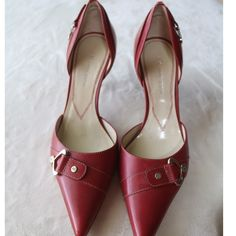 NWOT! ANNE KLEIN Red Heels/Shoes Red Anne Klein dress heels with 2.5 inch heel.  Detailing on front and back side of each shoe. These shoes have never been worn. Anne Klein Shoes Heels