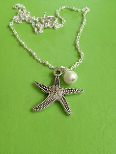 Bridal Starfish and Pearl Necklace by joytoyou41 on Etsy, $25.00