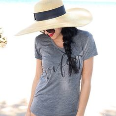Loving the vacation vibes of our Wifey tee paired with a wide brimmed hat  {Wifey tee link in bio} ( @conveythemoment) #takeuswithyou