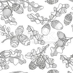 Seamleess patter with artistically hand drawn acorns and oak leaves. Pattern for coloring book. Black and white. Made by trace from sketch. Coloring Books, Coloring Pages, Acorn And Oak, Free Vector Art, Decoration, Royalty Free Images, Zentangle, Design Elements, How To Draw Hands