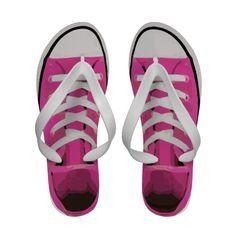 Pink Sneaker Athletic Shoe Funny Cute Flip-Flops #flipflops