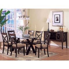 Dark Walnut Finish Dining Table Set 07185 by Acme MyPriceForYou.com - Affordable furniture
