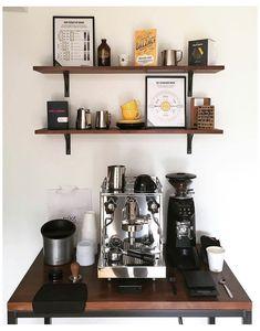 Coffee Nook, Coffee Bar Home, Home Coffee Stations, Coffee Bars, Coffee Set, Mini Bar At Home, Bars For Home, Espresso Bar, Espresso Drinks