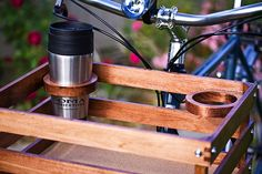 Bicycle basket cup holders.