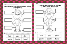 Inspired by Kindergarten: freebie The little old lady who wasn't afraid labeling activity