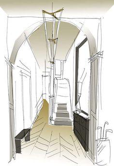 Emily Bizley Interior Design Bathroom Sketch Interior Sketch