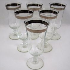 Vtg-Silver-Rimmed-Wide-Band-Glasses-Barware-Cordial-Wine-Parfait-1950s