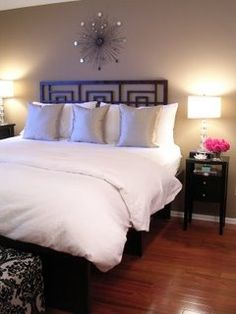 freckles chic: Freckles Chick - Our master bedroom decorated on a small budget - white, bedding, damask ...