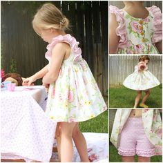 Clara Ruffle Top & Knit Shorties PDF Pattern Set. Instant Download, sizes 2T-10 years.