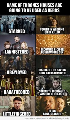 Houses in Game Of Thrones used as verbs