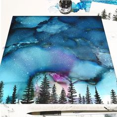 Ordering up prints of my latest tree and sky painting 🤩 💫 🌌 🌲 (original alcohol & acrylic ink on yupo paper - SOLD) . Alcohol Ink Crafts, Alcohol Ink Painting, Alcohol Ink Art, Sky Painting, Painting & Drawing, Painting Prints, Sharpie Art, Paint And Sip, Sky Art
