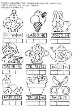 Ordenar sílabas para escribir y leer la palabra correcta a cada imagen: