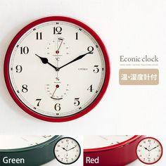 掛時計壁掛け時計温度計湿度計クロックウォールクロック北欧ミッドセンチュリー連続秒針シンプルレトロモダン温・湿度計付き掛け時計econic〔エコニック〕グリーンレッド