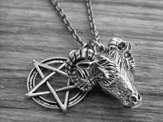 Silver Ram / Goat Head and Pentagram Charm Necklace by Ink & Roses 13