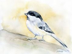 Chickadee watercolor giclée reproduction. Landscape/horizontal orientation. Printed on fine art paper using archival pigment inks. This quality printing allows over 100 years of vivid color in a typic