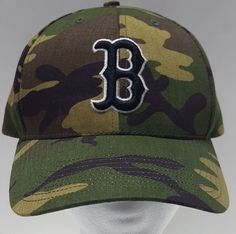 b77fc906037 Boston Red Sox MLB Baseball Green Camouflage Trucker Cap Hat Strapback One  Size