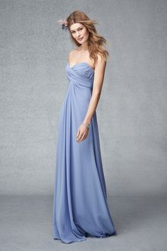 Sky strapless chiffon gown with pleated bodice.Please schedule your appointment for bridesmaids dresses at J.J. Kelly Bridal. www.idoappointments.com