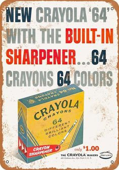 "Crayola Crayons - remember ""Prussian blue"" and ""spring green""?the 64 box. I remember opening it and marveling at all the colors. The wonderful sharpener. Even now, when I open a new box of crayons the happy memories just flood back and I smile. My Childhood Memories, Childhood Toys, Sweet Memories, School Memories, Vintage Advertisements, Vintage Ads, Vintage Stuff, Vintage Photos, Vintage Toys 1960s"