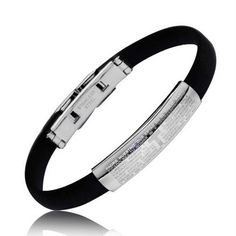 Padre Nuestro Our Lords Prayer Rubber Steel Bracelet 7.25in. Stainless Steel Religious Bracelet. Oracion Padre Nuestro Foldover Clasp. Material: Stainless Steel, Rubber. Measure: 8 inch L x 8 mm W. Weight: 10.4 Grams.