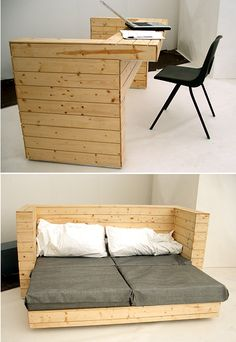 No instructions, but cool pics of a very sleek modern pallet desk and modular pallet bed frame. Great use of space if you have a small place. Furniture For Small Spaces, Cool Furniture, Furniture Design, Furniture Ideas, Wooden Furniture, Pallet Furniture Desk, Palette Furniture, Space Saving Furniture, Furniture Outlet