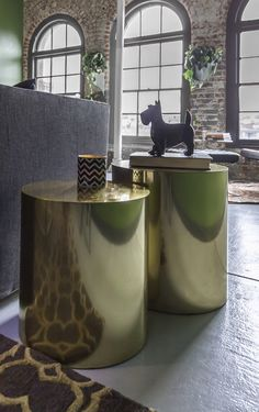 Rock n' Roll Chic Old Market, Milo Baughman brass drum tables, Eileen Gray side table, Barcelona chair, charcoal gray sofa, modern take on a Moroccan rug, Scotty dog green walls, brick, arched windows- Anna Harms, The Iconic Space Omaha, NE www.theiconicspace.com