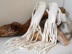 SALE White Leather Braid Wraps with Fringe by FaeMoonWolfDesigns