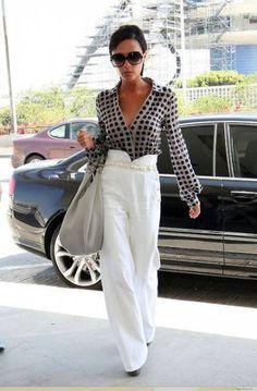 Широкие брюки-палаццо: основные правила комплектования