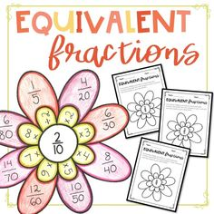 Adding Fractions Flowers Activity/Craft by Spaids in the Classroom Add Fractions, Finding Equivalent Fractions, Simplifying Fractions, Fractions Worksheets, Dividing Fractions, Multiplication, 4th Grade Activities, Fraction Activities, 4th Grade Math
