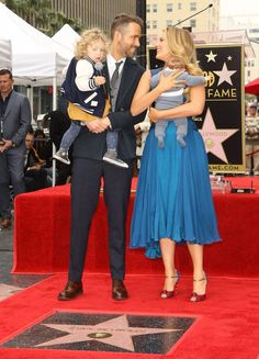 Adorable couple Ryan Reynolds and Blake Lively–who first met on the set of Green Lantern and later married in 2012–introduced their two little ones to the world this past December. Reynolds carried their nearly 2-year-old daughter, James, while Lively trailed with the couple's 2-month-old infant, Ines.