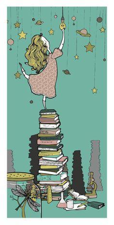 Noche: Encender la luz to read (Ilustración de Lina Mulik)