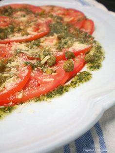 Carpaccio de Tomate com Molho Pesto