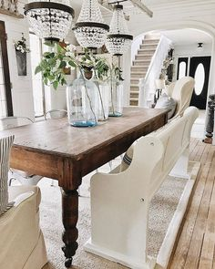 Beautiful Modern Farmhouse Dining Room Decor Ideas – Home Decor Ideas Farmhouse Dining Room Table, Dining Rooms, Dining Chairs, Dining Room With Bench, Beige Dining Room, Antique Dining Tables, Dining Decor, Rustic Table, Home Decor
