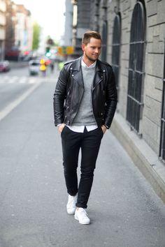 Glenn H. [Leather jacket : Saint Laurent Sweater : Weekday Shirt : Filippa K. Pants : ADPT Shoes : Adidas]