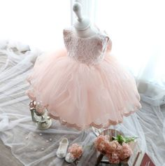 2015 soft tulle tutu Baby dress First Communion baptism baby girl clothes kids Toddler Princess dresses for flower girls 0-8 yrs